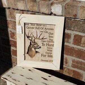 Genesis 27:3 Hunting deer wooden framed art
